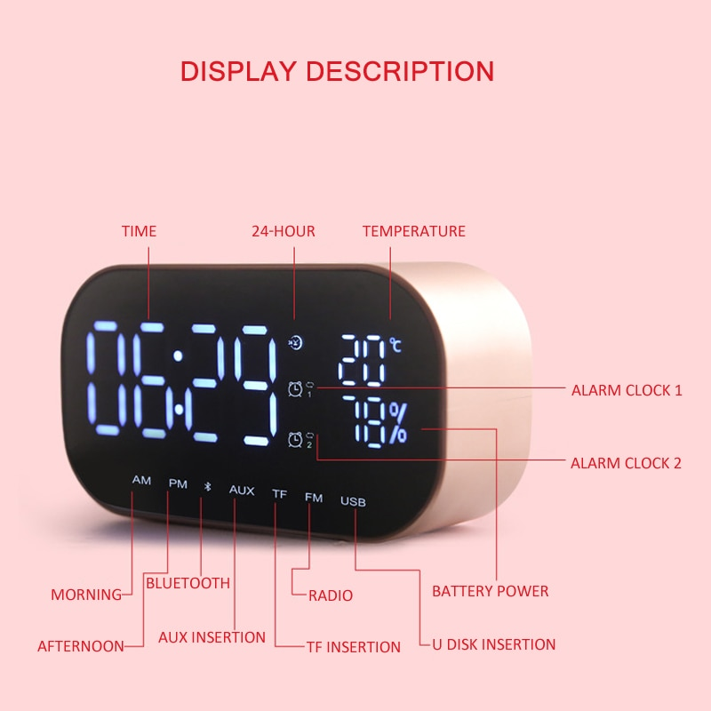 Фото Cветодиодный Будильник с FM радио и беспроводной Bluetooth динамик EAAGD LED Alarm Clock with FM Radio wireless Bluetooth Speaker Support Aux TF USB Music Player Wireless for Office Bedroom