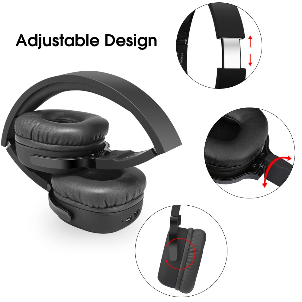 Фото New Bee Active Noise Cancelling ANC Stereo Foldable Headset Wireless Bluetooth Headphone with Microphone for Phone PC TV