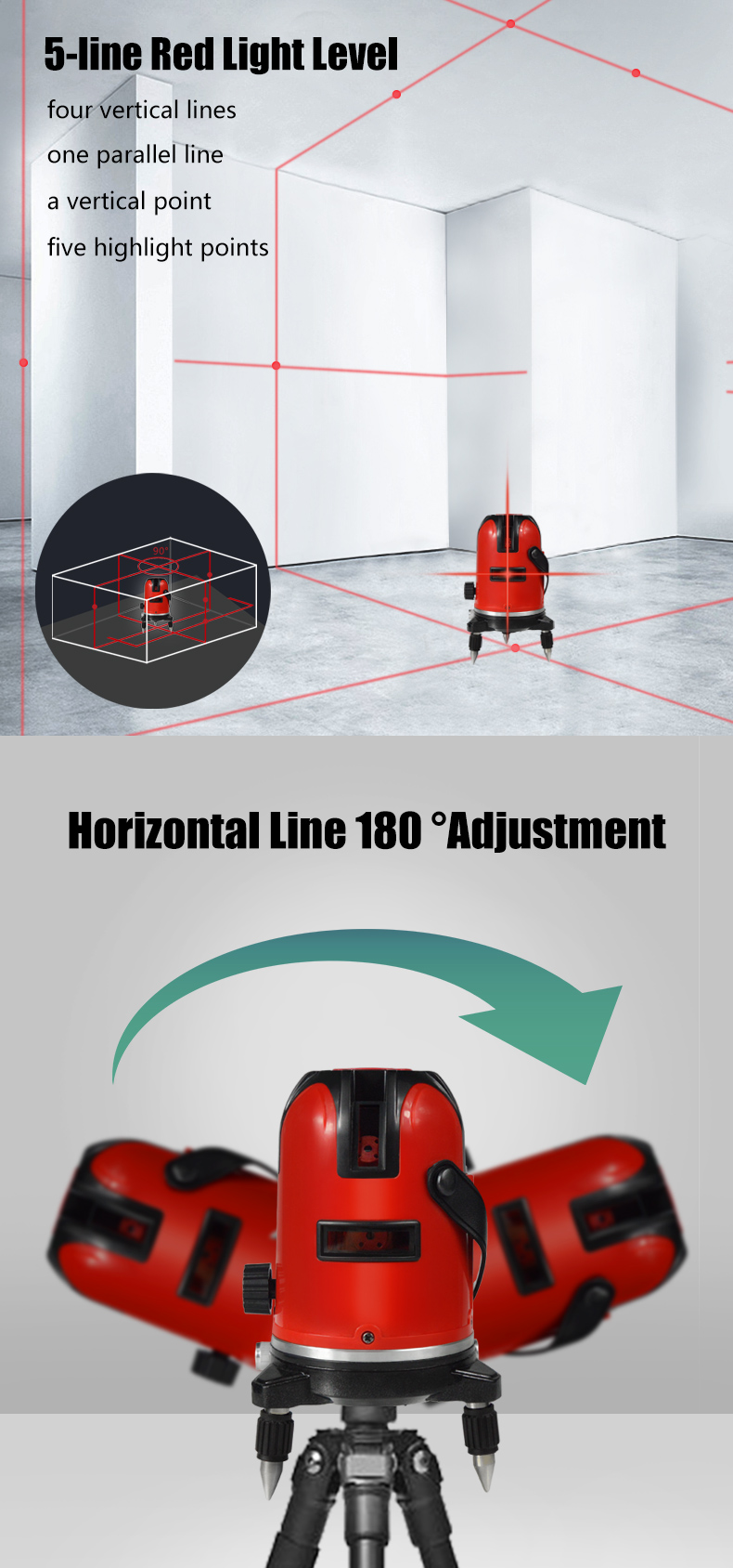 Фото PRACMANU 5 Lines 6 Points Laser Level Automatic Self Leveling 360 Vertical&Horizontal Tilt Degrees Rotary LD 650nm Outdoor Mode