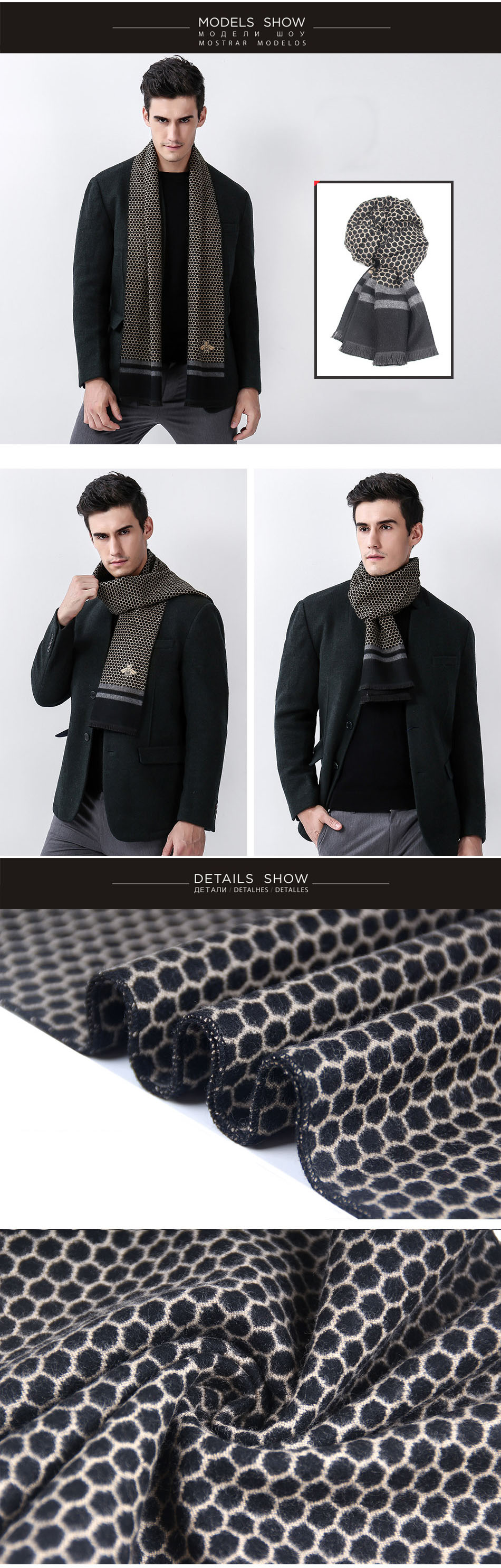 Фото Шарф Scarves  Men Scarf Winter Warm Small Square Silk Poncho Fall 2017 Fashion Casual Wool Clothing Accessories Apparel Luxury Brand