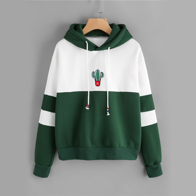 Фото ROMWE Drawstring Color Block Cactus Embroidered Hoodie  Spring Autumn Long Sleeve Ladies Casual Sporty Pullovers Sweatshirt