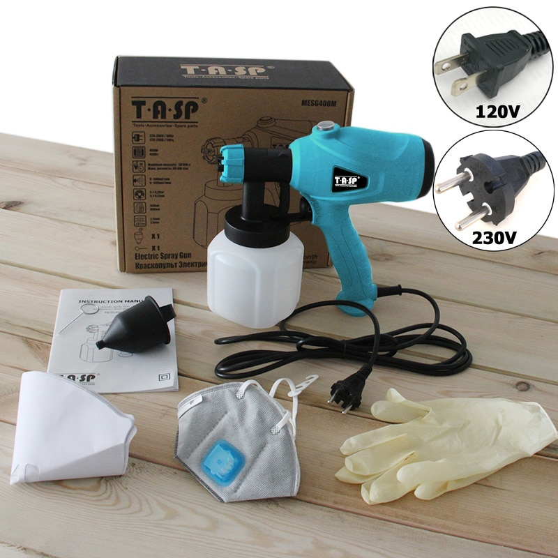 Фото TASP 120V/230V 400W Electric Spray Gun HVLP Paint Sprayer Painting Compressor with Adjustable Flow Control and Strainer & Mask